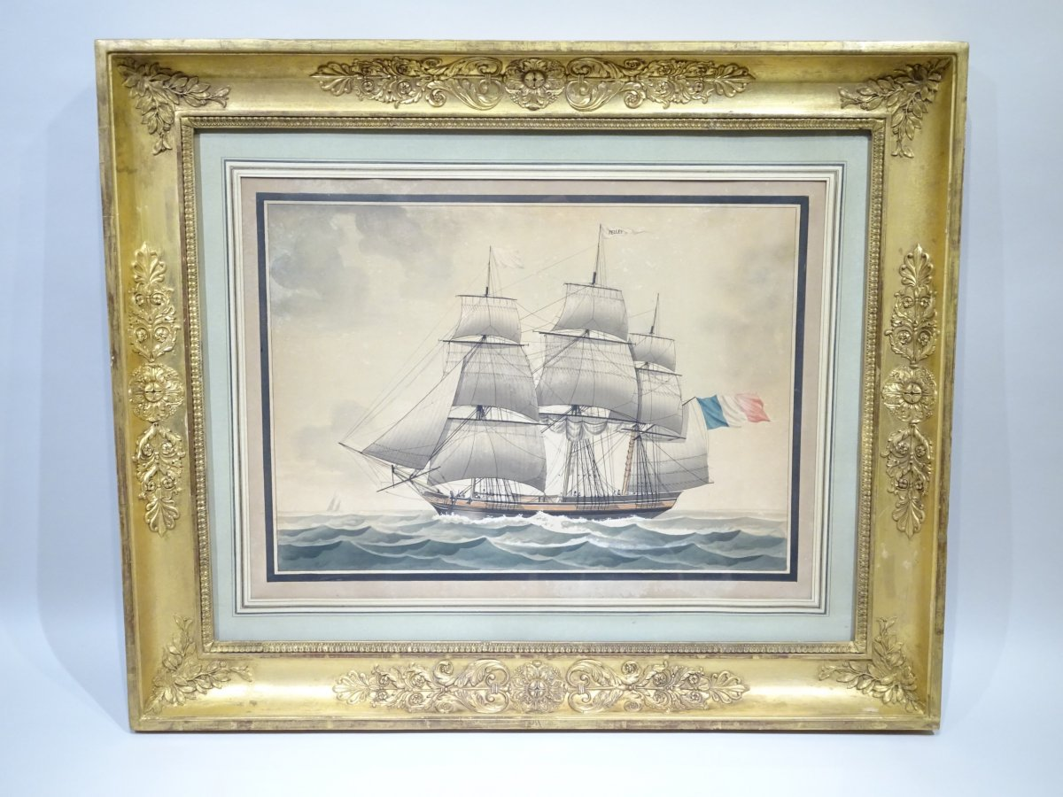 Watercolor Representing A Three Masts Barque By François Roux