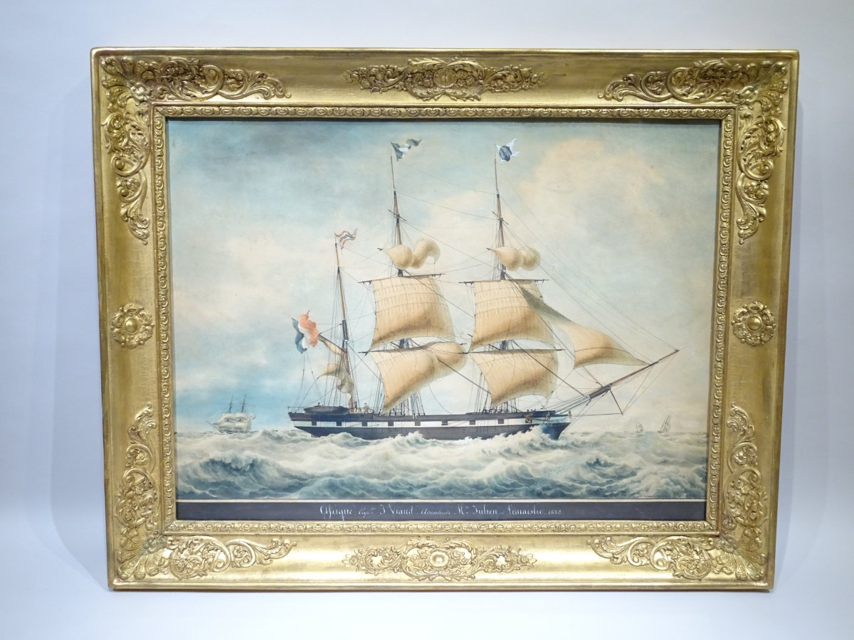 Watercolor Representing A Schooner Of The Shipowners Julien And Lemaistre By François Roux