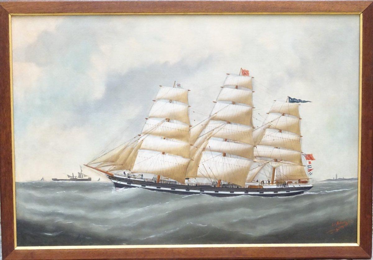 Huile sur toile représentant le 3 mâts barque Ravenscrag signé Edouard Adam Fils daté 1893