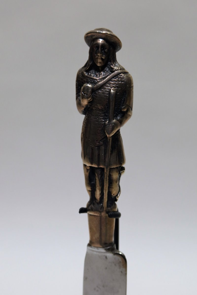 Large 17th Century Knife With Silver Handle Representing A Man In Iron Mesh