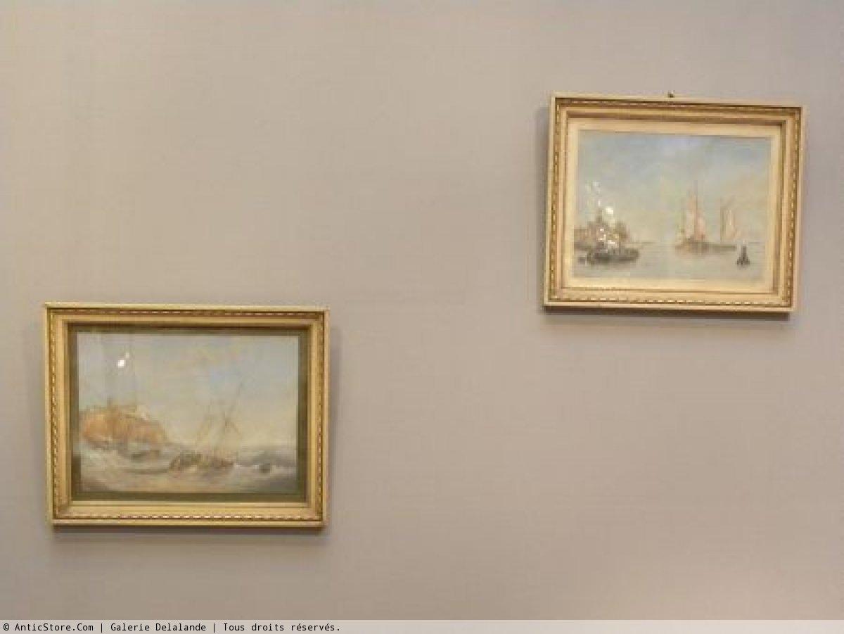 Paire De Gouaches de scènes marines hollandaises monogrammée