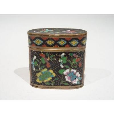 Opium Box In Black Cloisonné