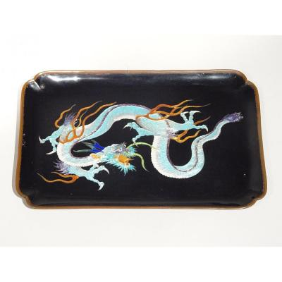 Lacquered Tray With A Decoration Of A Three-clawed Dragon