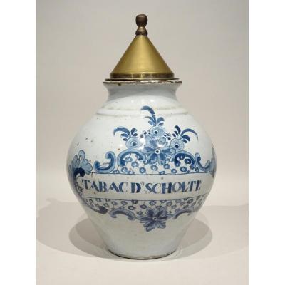 Pot à Tabac Delft Datable Vers 1780