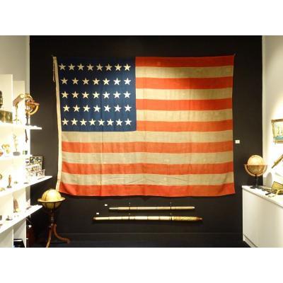 Pavillon Américain à 37 étoiles Datable Entre 1867 Et 1877
