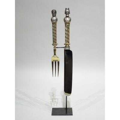 Ceremonial Cutlery Representing A Couple Of Moujiks - Moscow 1875