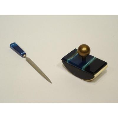 Blue Agate Pad / Letter Opener Set