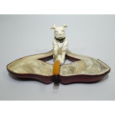 Meerschaum Pipe Representing A Sitting Boxer