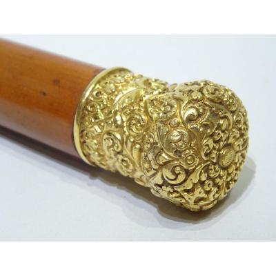 Collection Cane With Pretty Ornate Gold Handle Decorated With Flowers