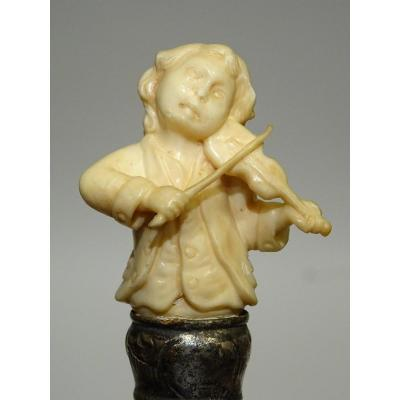 Cane With Ivory Handle On The Rare Theme Of A Child Playing The Violin