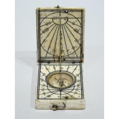 Ivory Diptych Sundial Signed By Conrad II Karner Made Circa 1620.