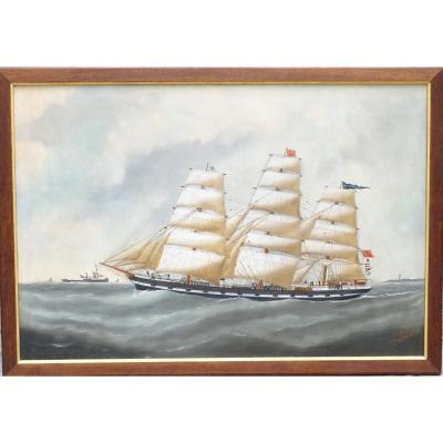 Oil On Canvas Signed Edouard Adam Fils Dunkerque Dated 1893
