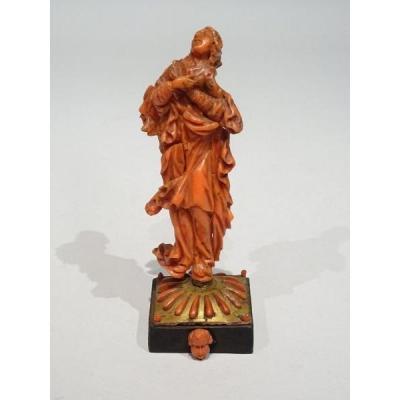 Vierge En Corail De Trapani Datable Du 17ème Siècle