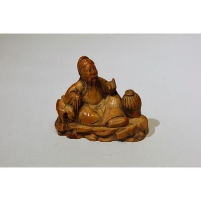Figurine En Ivoire Représentant Li Taipo - Datable Du 18ème Siècle