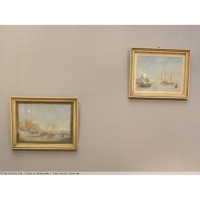 Pair Of Gouaches With Dutch Marines Scenes Monogrammed Mc