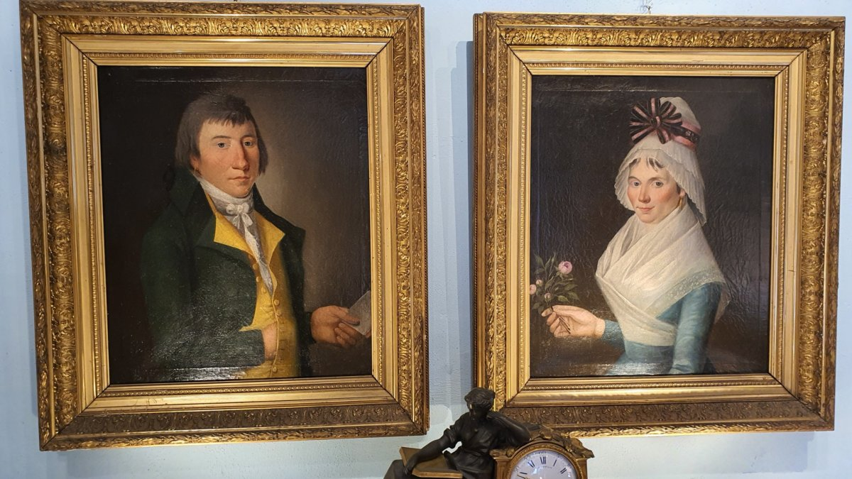Pair Of Portraits Late 18th Early 19th