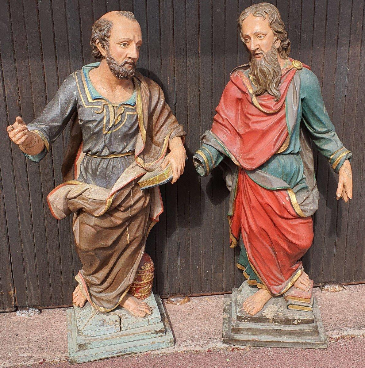 Paire De Statues Religieuses
