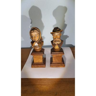 Pair Of Small Sculpted Busts