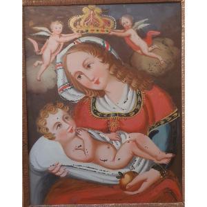 Vierge à l'Enfant fixé sous verre