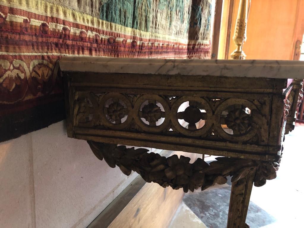 Console En Bois Doré d'époque Louis XVI.-photo-1