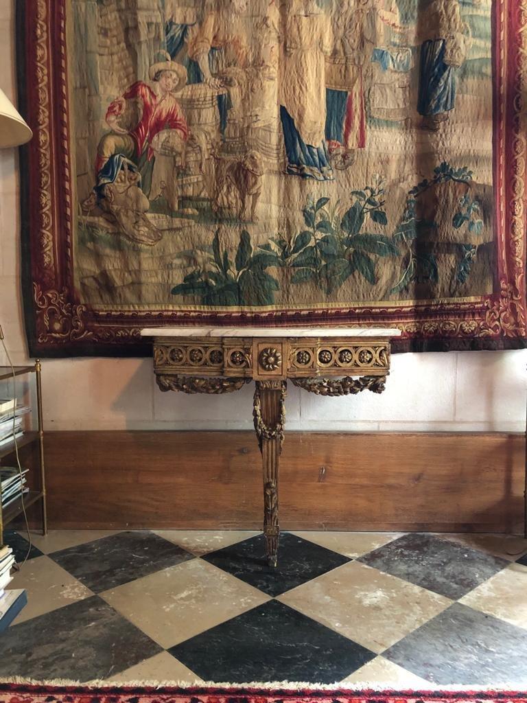 Console En Bois Doré d'époque Louis XVI.