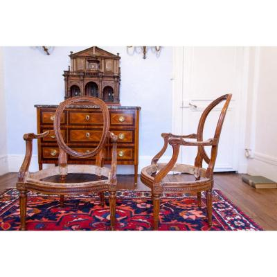Pair Of Cabriolets Armchairs Louis XVI Stamped Georges Jacob