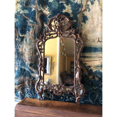 Mirror With Parecloses In Golden Wood Louis XV Style.