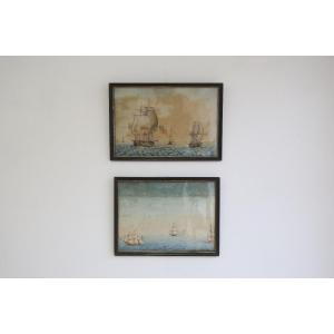 paire d'aquarelles , marines du début du XIXème siècle