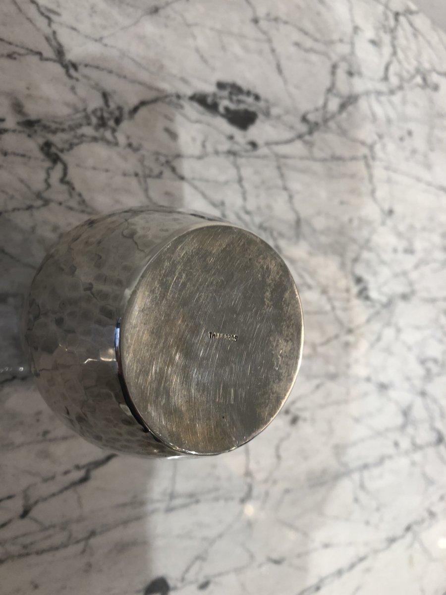 Petit vase en argent émaillé, poinçon de l'orfèvre Thune, Norvège XXe-photo-4