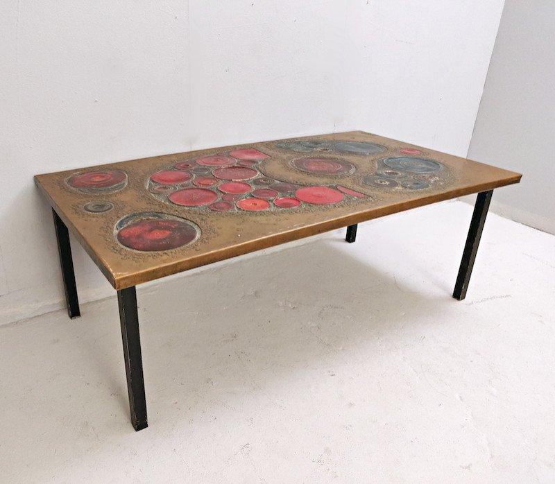 Table Basse En  Laiton Et Céramique, 1968-photo-2