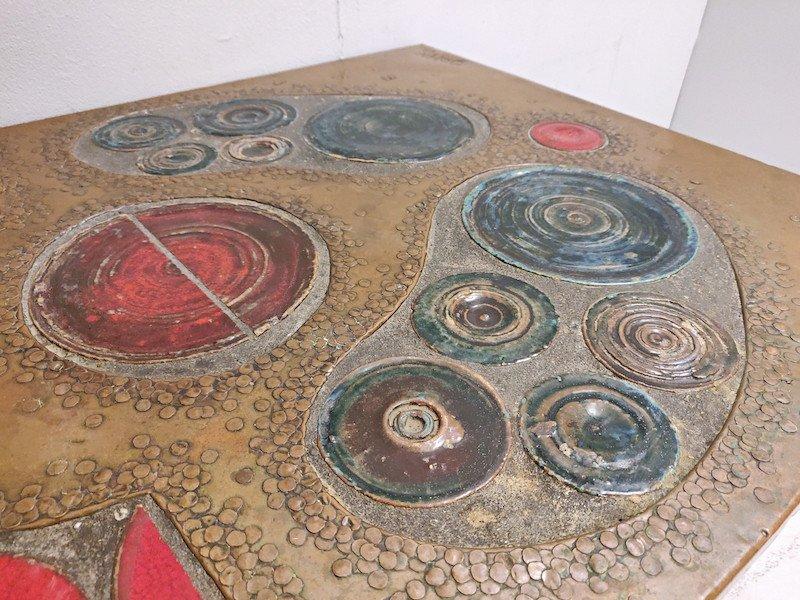 Table Basse En  Laiton Et Céramique, 1968-photo-4