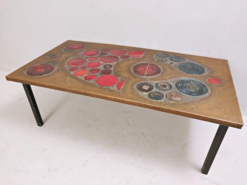 Table Basse En  Laiton Et Céramique, 1968-photo-1