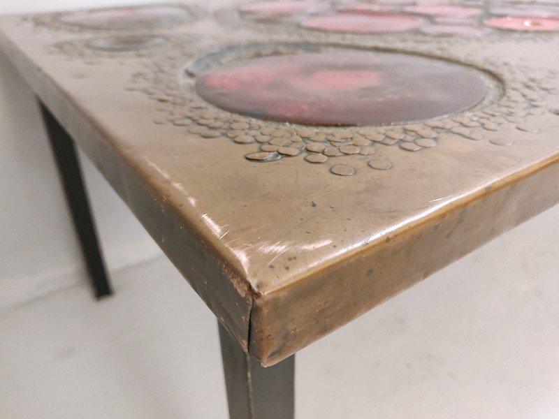 Table Basse En  Laiton Et Céramique, 1968-photo-3