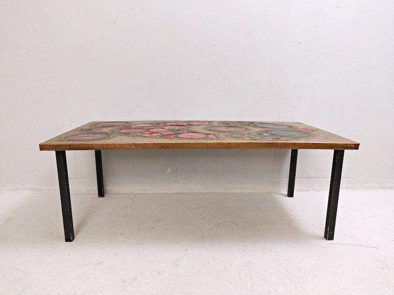 Table Basse En  Laiton Et Céramique, 1968