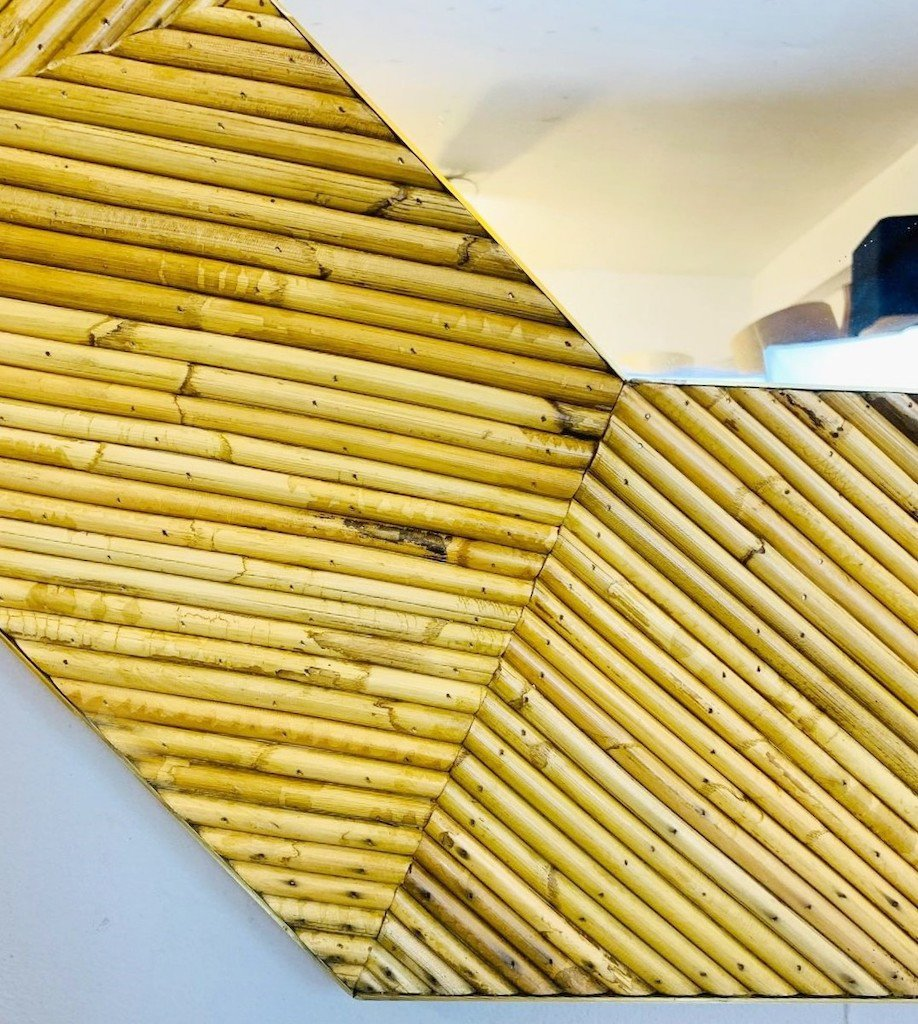 Rattan And Brass Mirror, 2 Available-photo-2