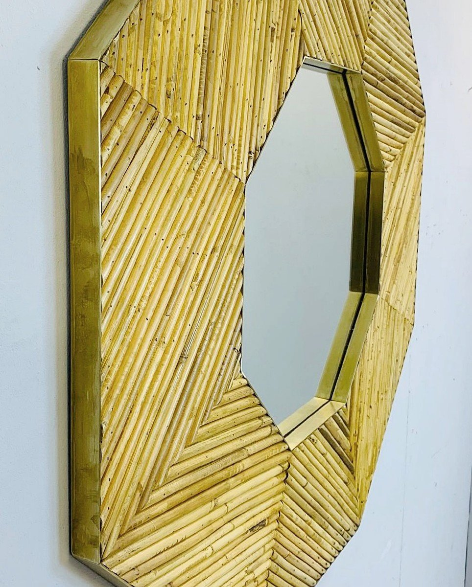 Rattan And Brass Mirror, 2 Available-photo-3