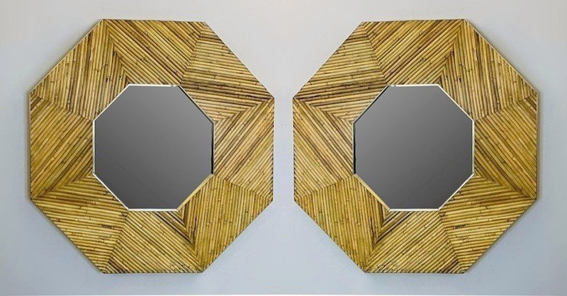Miroir En Rotin Et Laiton, 2 Disponibles -photo-1