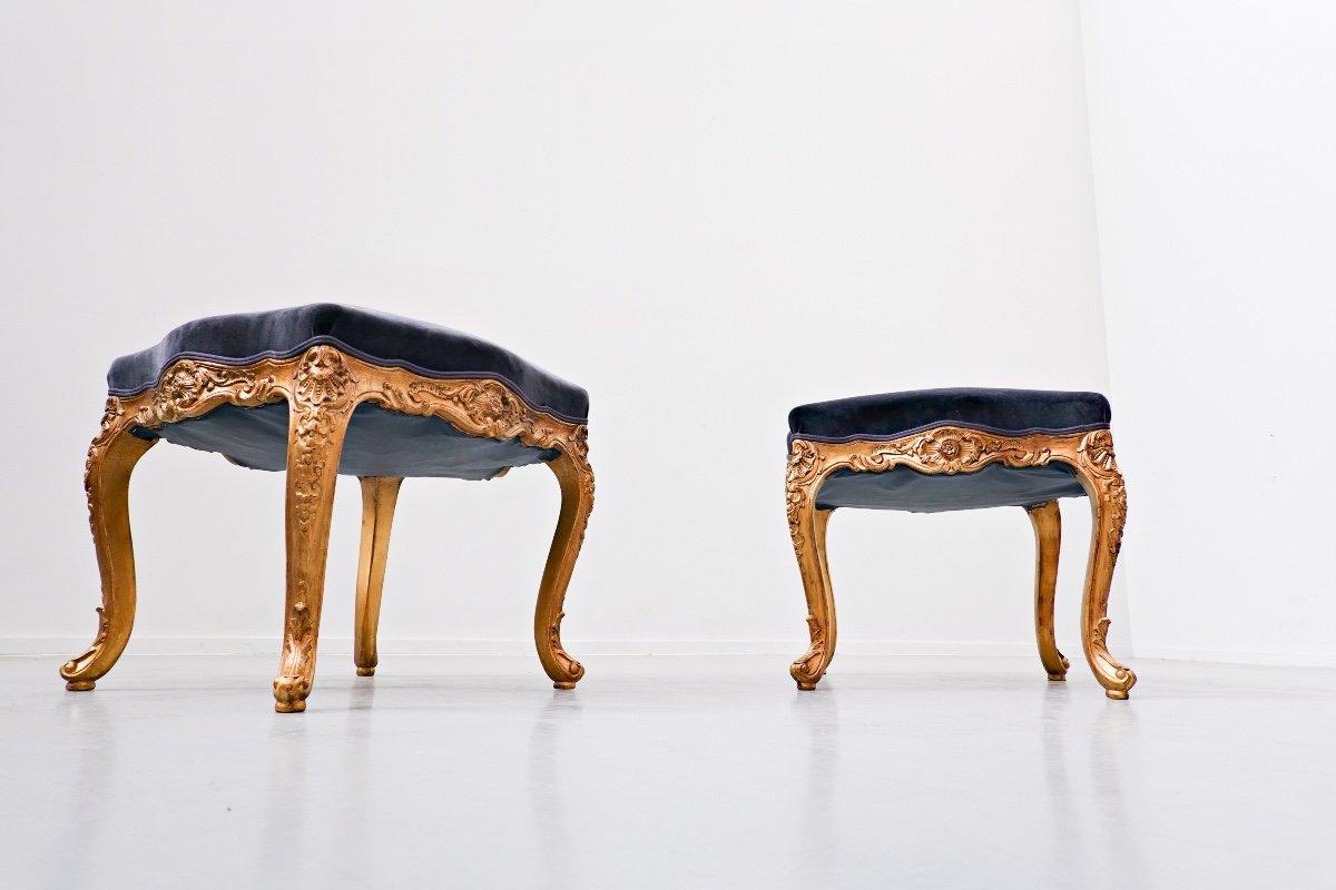 Paire De Tabourets, Style Louis XV, 20th Siècle, Belgique -photo-3