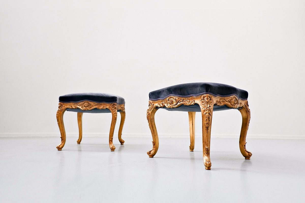 Paire De Tabourets, Style Louis XV, 20th Siècle, Belgique