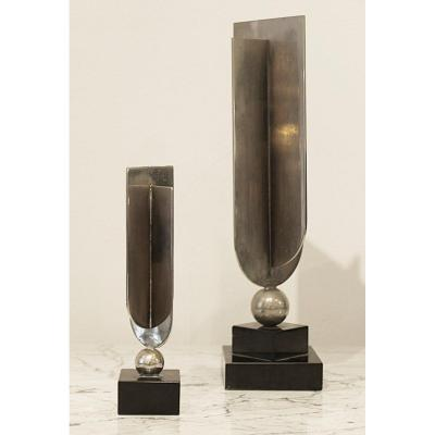 Set Of Two Sculpture Attributed To Jacques Adnet - C.1940s