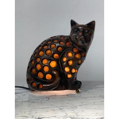 Lampe Chat En Verre Et Bronze