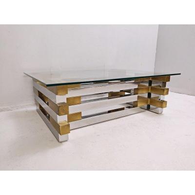Table Basse En Laiton , Plexiglass Et Verre
