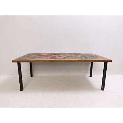 Brass And Ceramic Coffee Table, 1968
