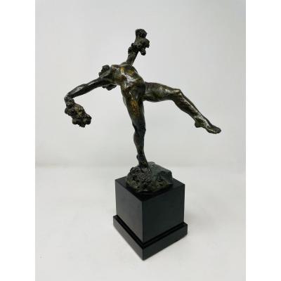 """Bronze """"Danseuse Nue Aux Fleurs"""" pour Pierre De Soete"""