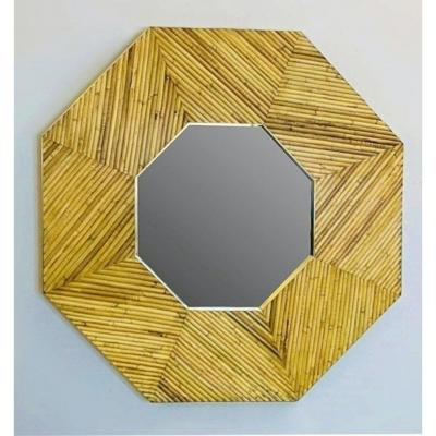 Rattan And Brass Mirror, 2 Available