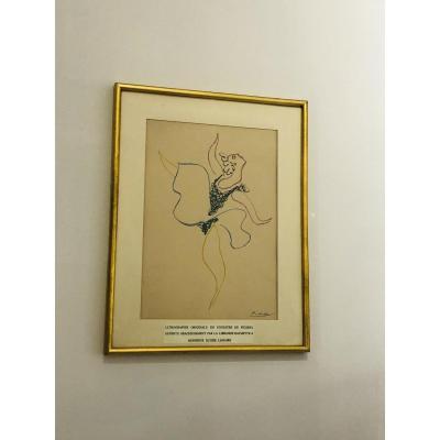 Lithographie Originale En Couleur De Picasso, La Danseuse,