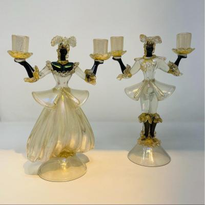 Pair Of Iridescent Glass Figures Attributed To Barovier, 1950s