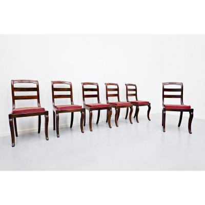 Set Of 6 Mahogany Charles X Chairs