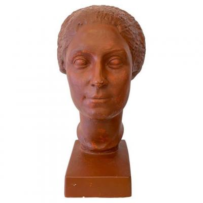 Original Plaster Bust Representing A Woman With Short Hair By Claudius Linossier, 1927