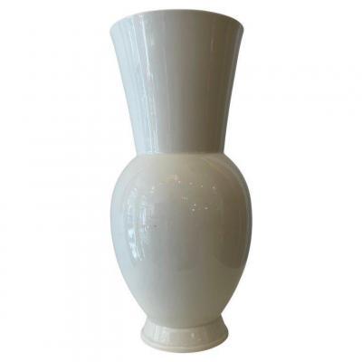 Vase Blanc En Céramique  Par  Marianne Brandt, Allemagne , Bauhaus, 1920s